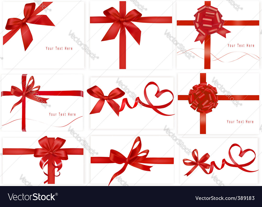 Set with beauty red bows vector image