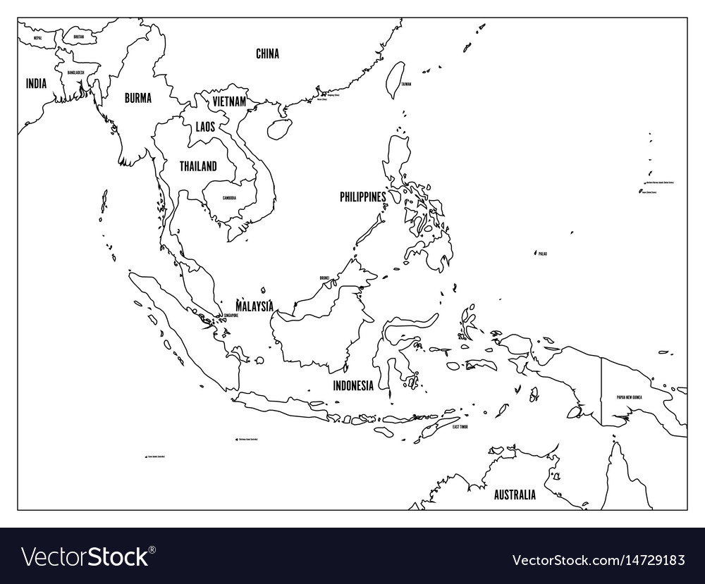 Black Map Of Asia.South East Asia Political Map Black Outline On