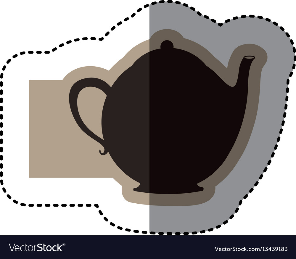 Sticker monochrome emblem with teapot of tea close