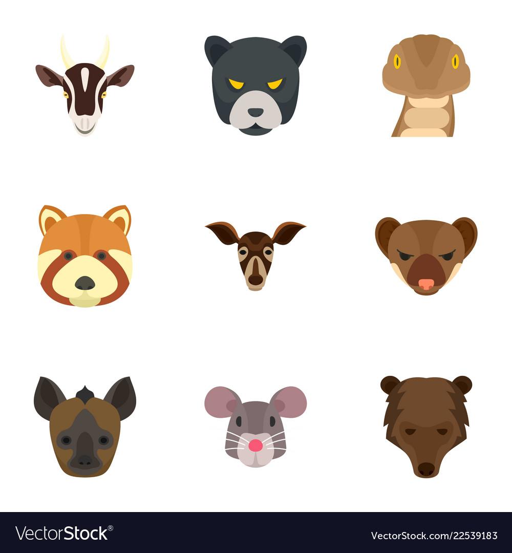 Wild animal head icon set flat style