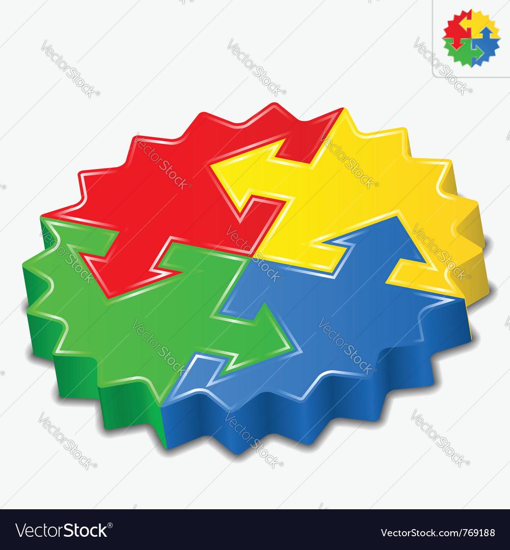 3d puzzle pieces with arrows vector image