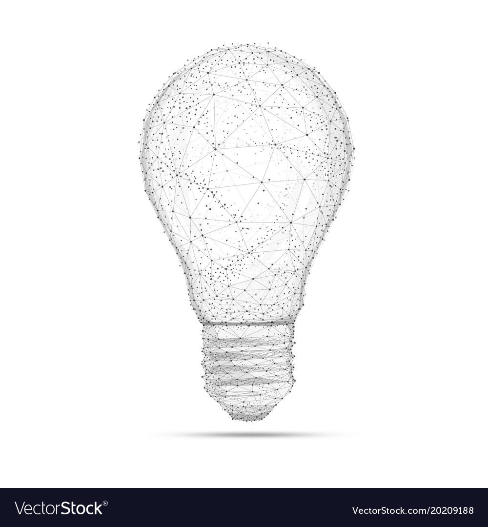 Blockchain polygon idea light bulb isolated on