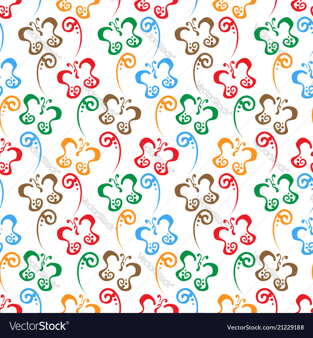 Butterfly hand drawn colorful pattern background