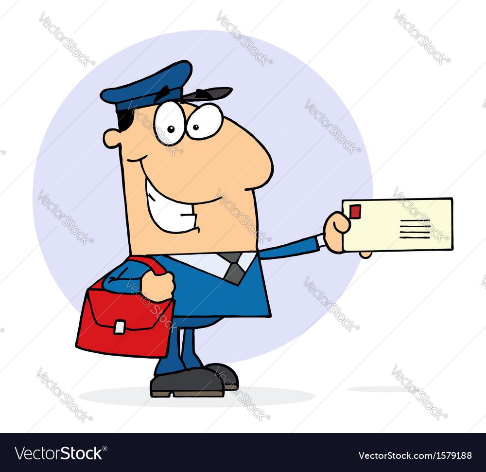 cartoon mail man royalty free vector image vectorstock