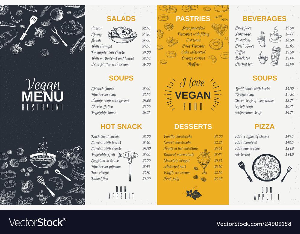 Hand drawn restaurant menu food cooking vintage