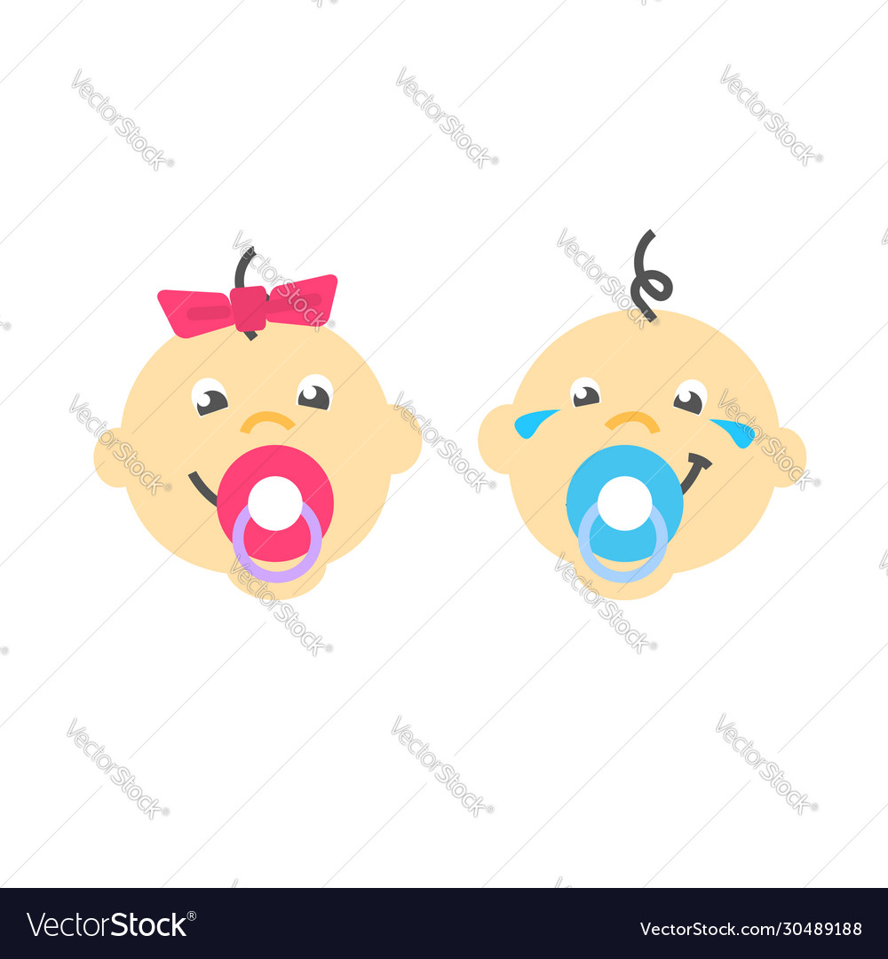 Infant baby faces sucking pacifier flat