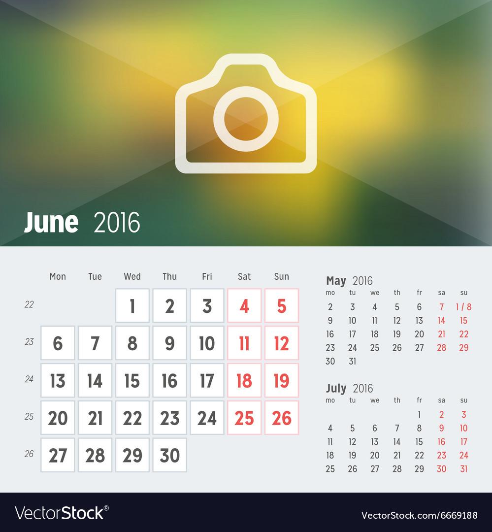 june 2016 desk calendar for 2016 year design print