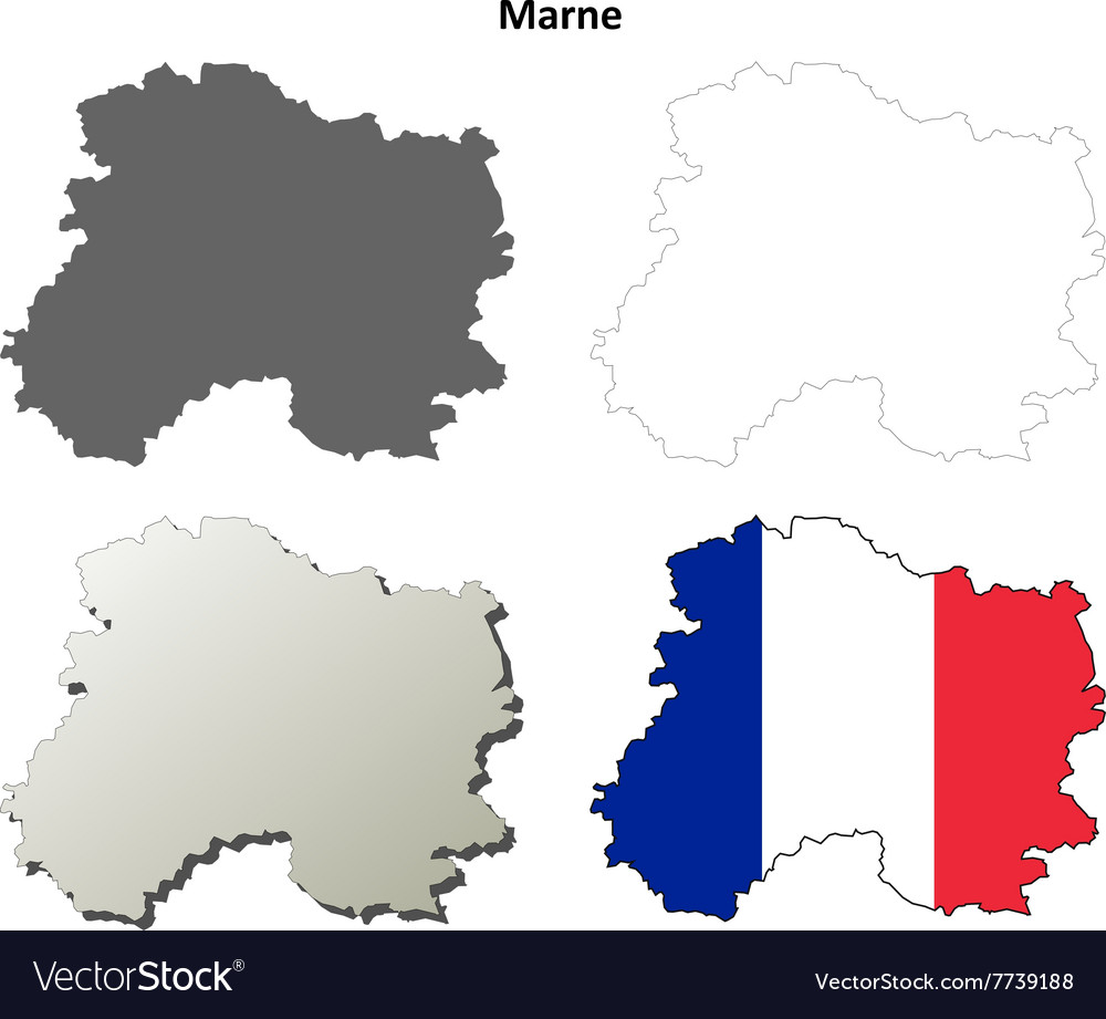 Marne Champagne-Ardenne outline map set Royalty Free Vector on