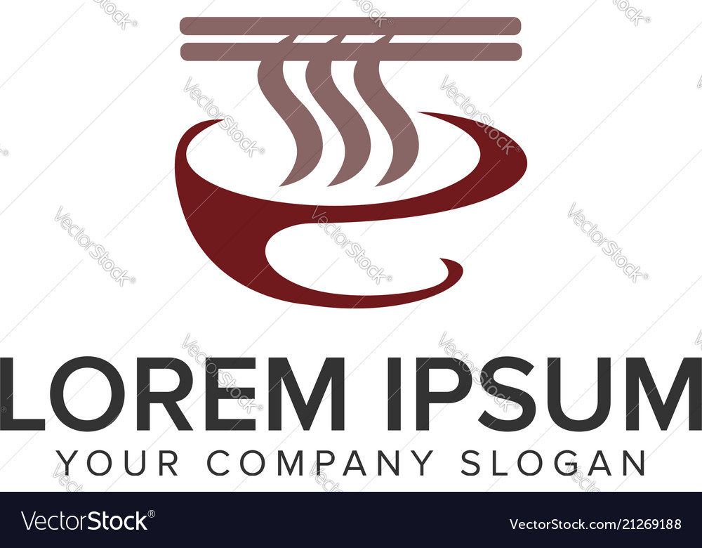 Noodle food logo design concept template fully