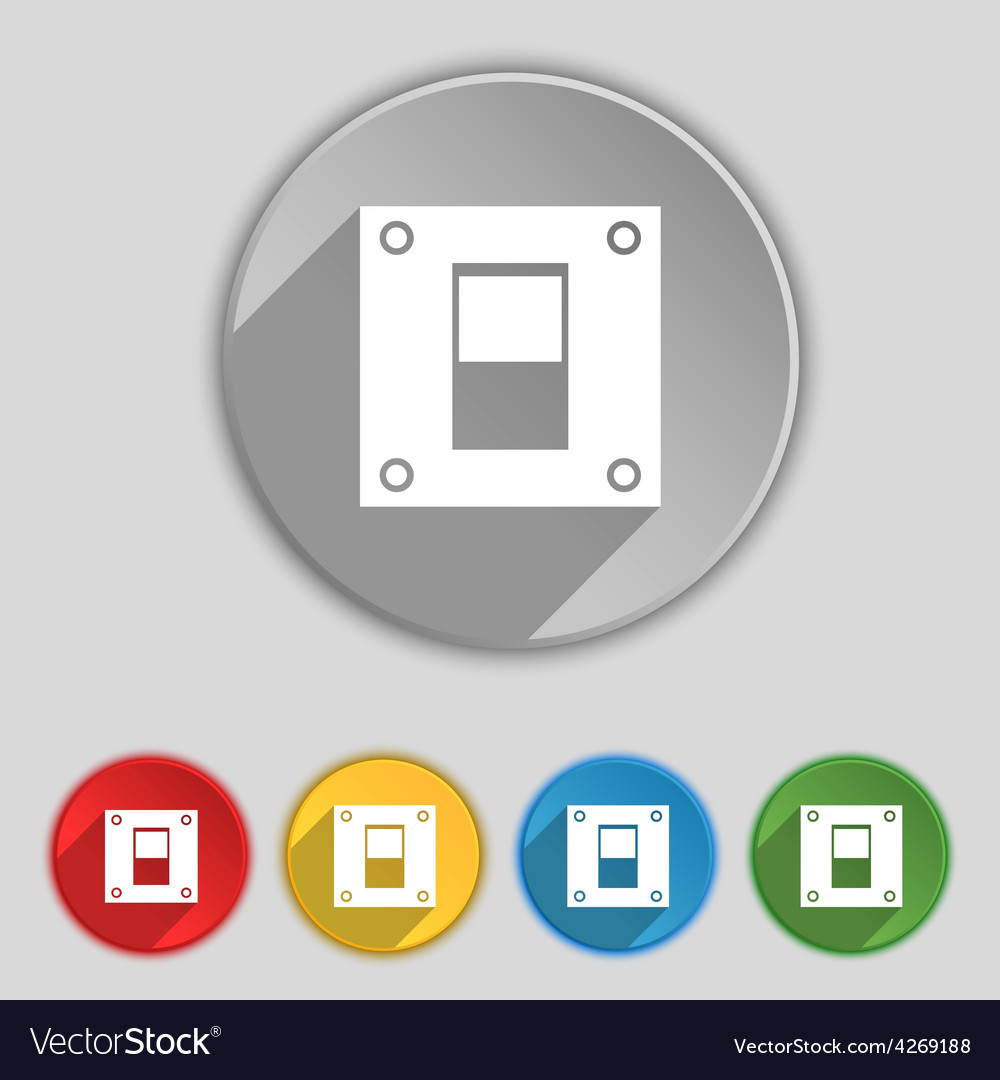 Power switch icon sign Symbol on five flat buttons