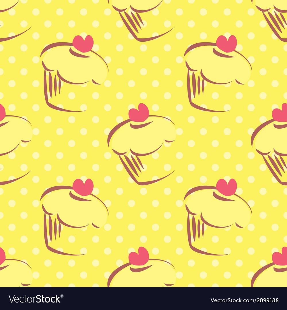 Seamless yellow cake pattern with polka dots