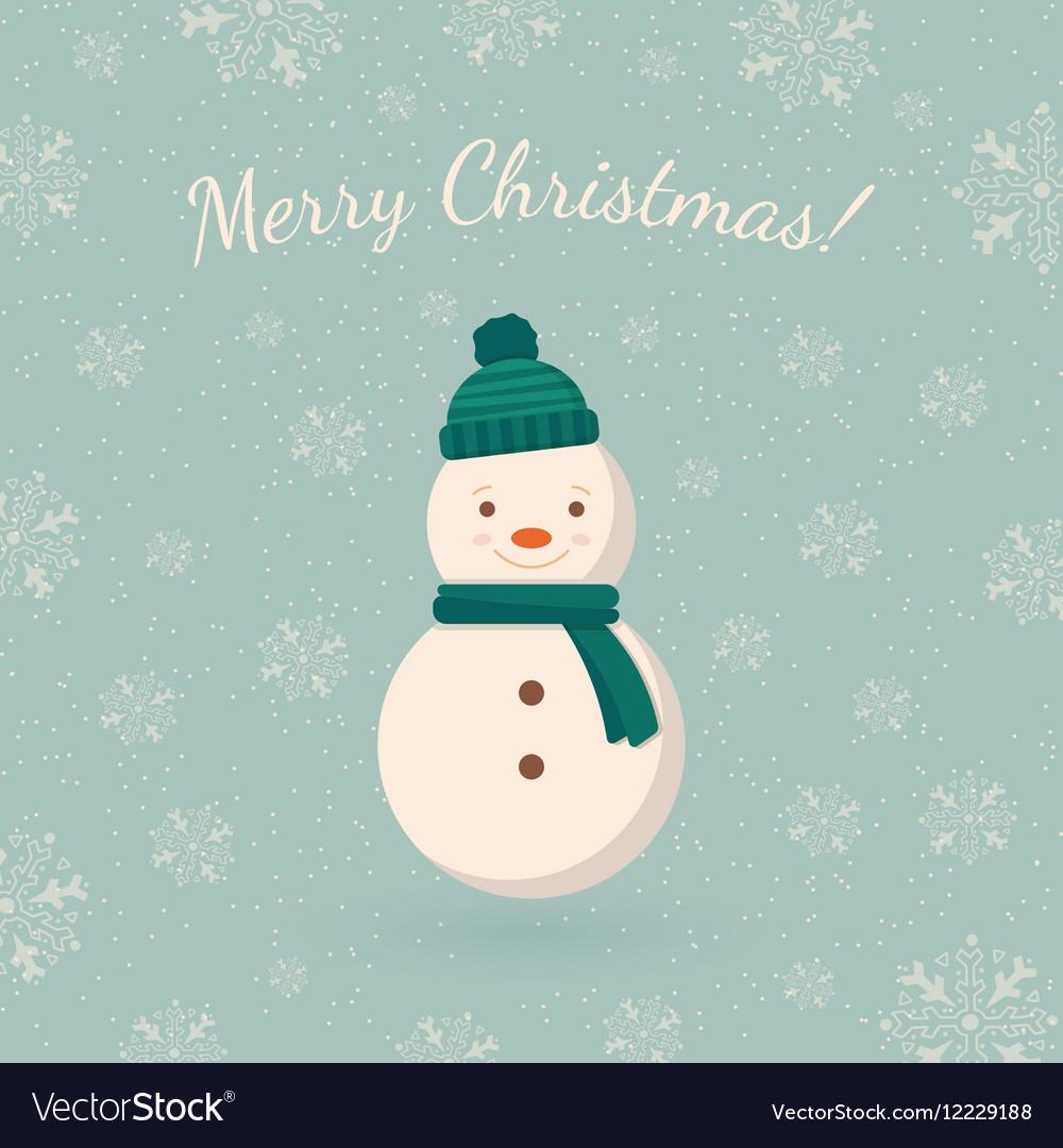 Snowman on winter backdrop