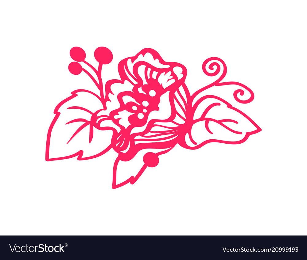 Blooming flower element with leaves and berries