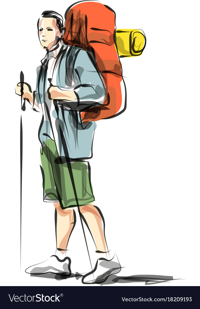 Color line sketch of a mountain tourist