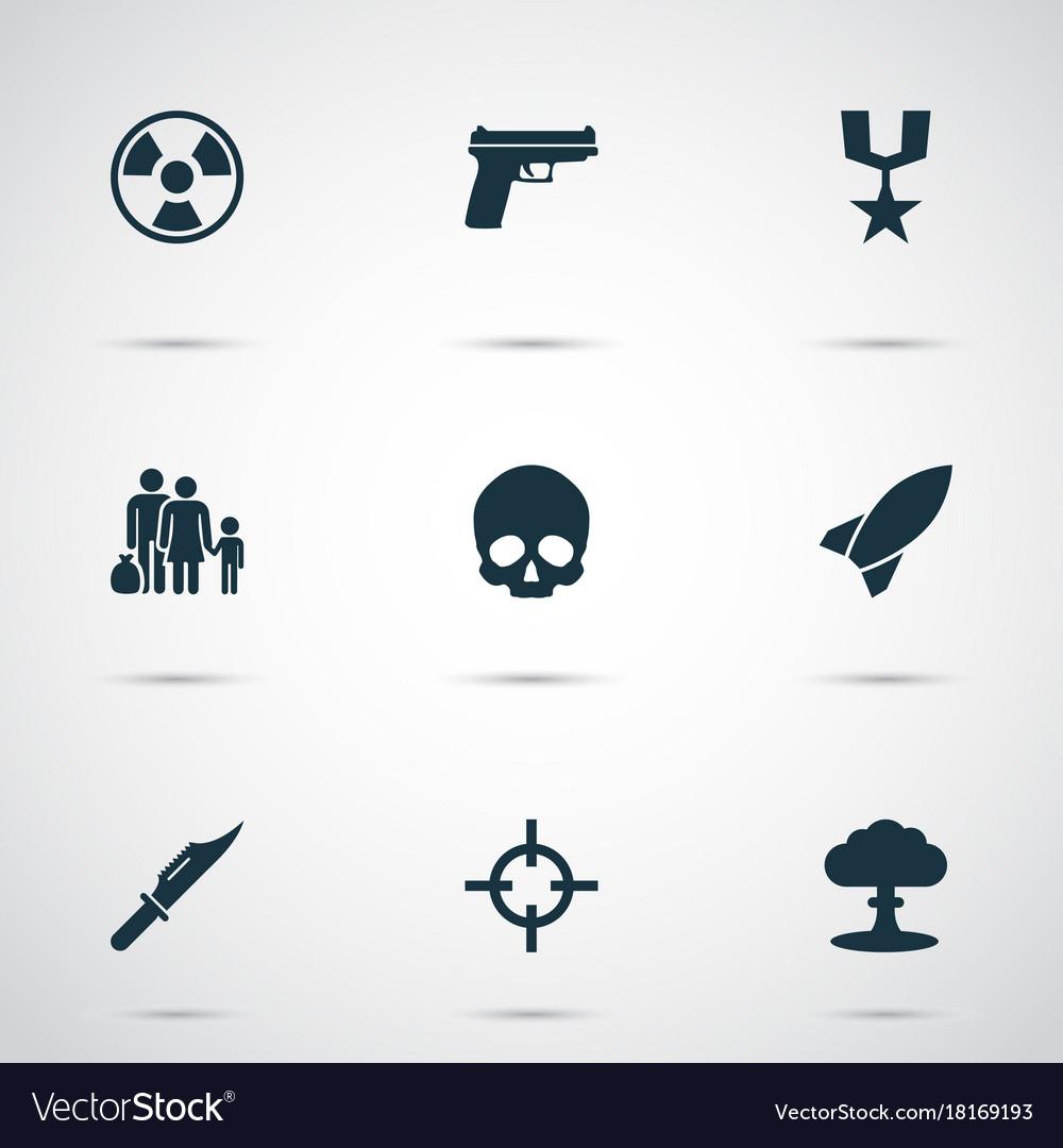 Combat icons set collection of dangerous cranium vector image