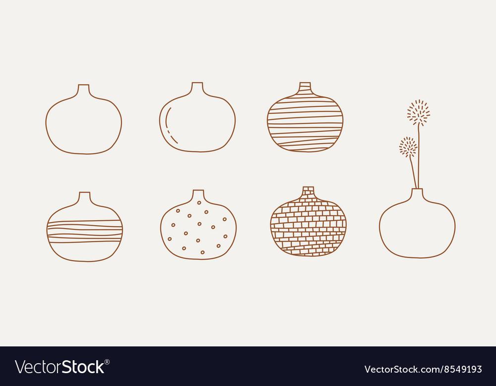Doodle vases and flower design