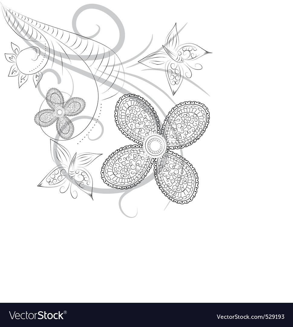 Floral ink vector image