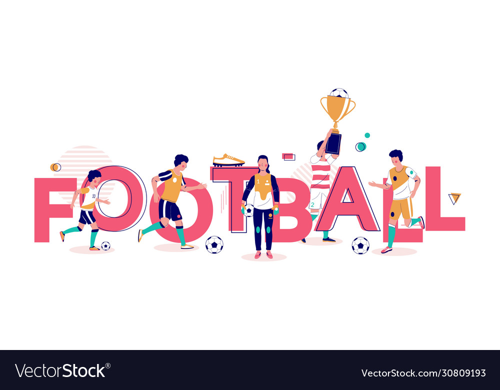 Football typography banner template flat