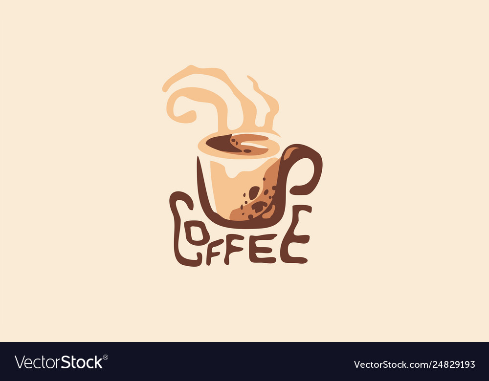 Hot drink cup coffee shop logo with steaming mug