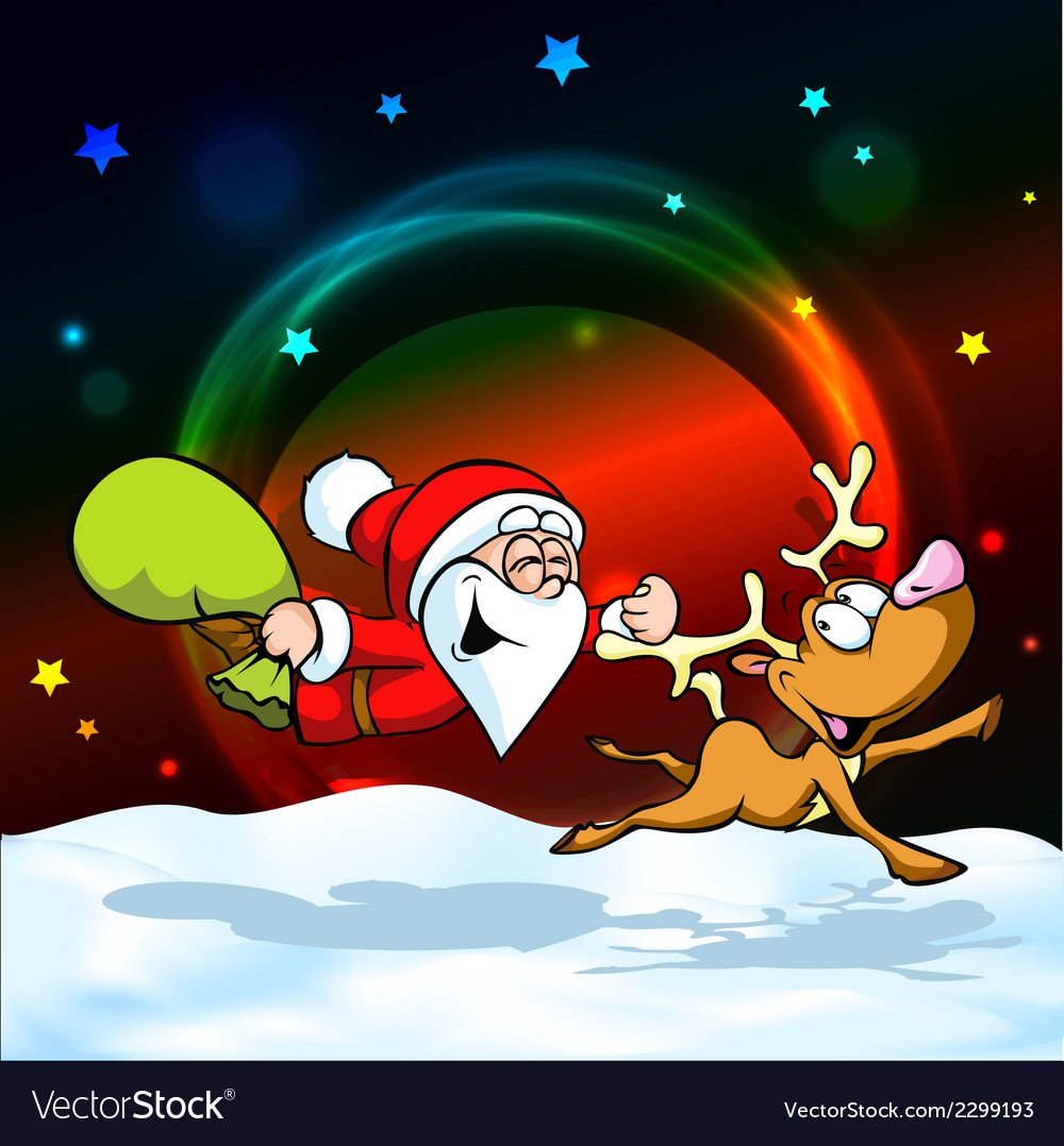 Magic christmas eve - funny of santa with re Vector Image