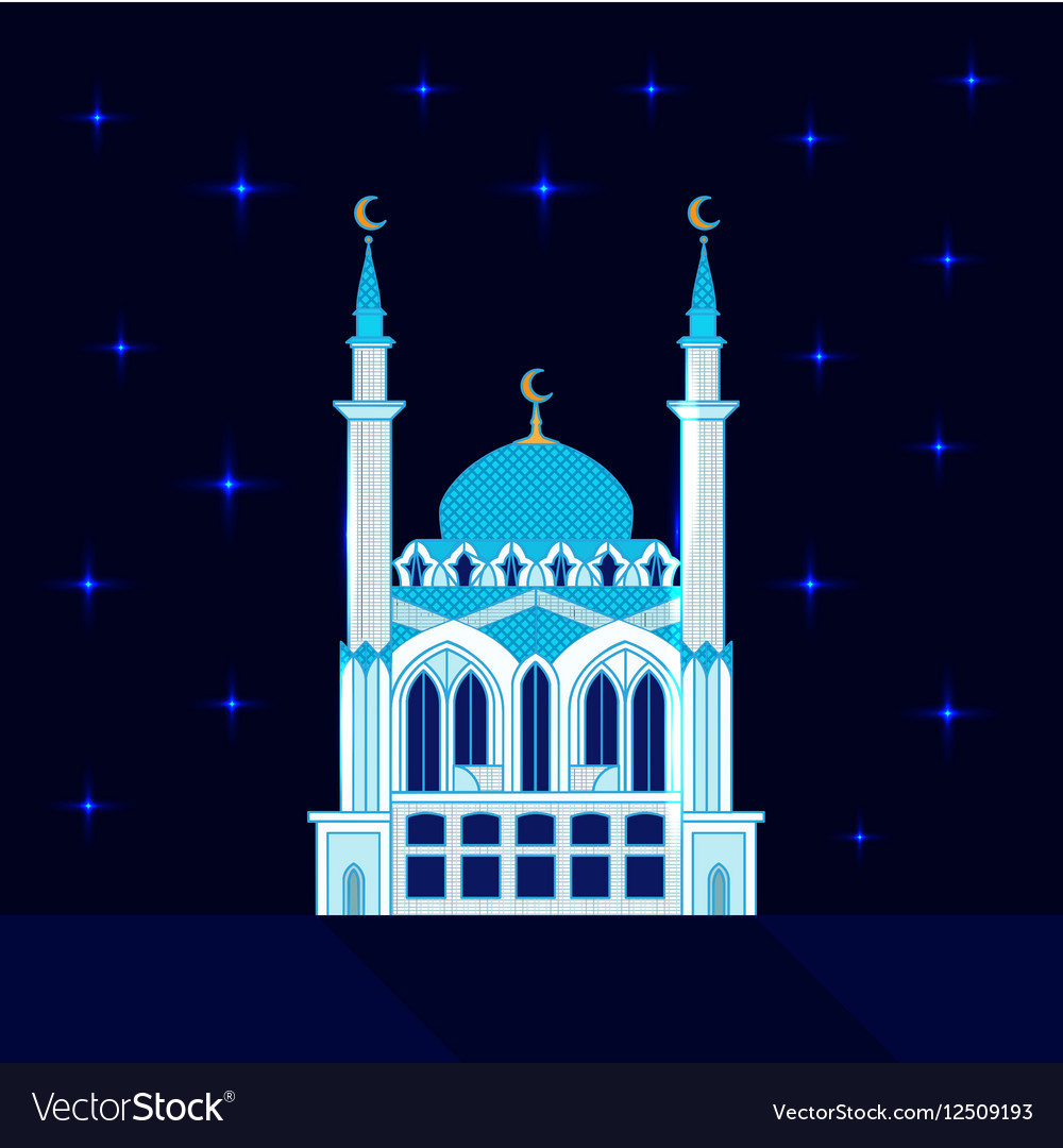 Mosque at night flat