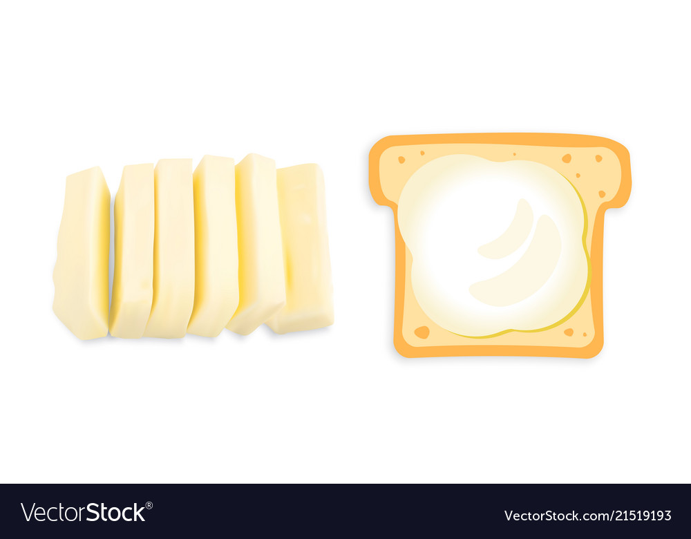 Slices of butter or margarine isolated