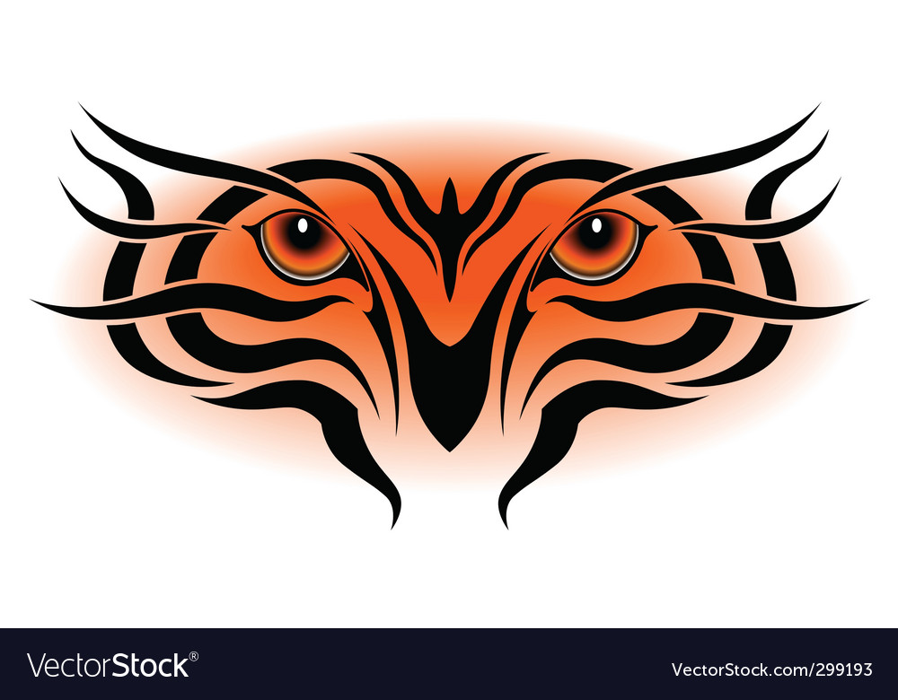 Tiger eyes tribal tattoo vector image