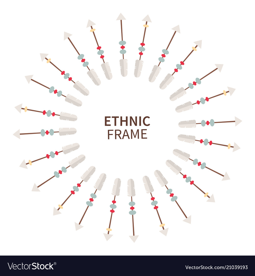 Tribal ethnic frame wreath made of arrows feathers