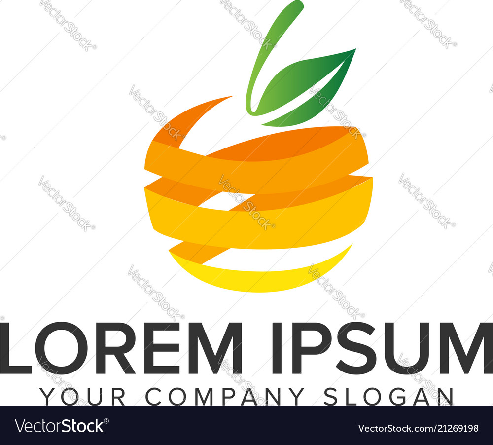 3d orange fruit logo design concept template
