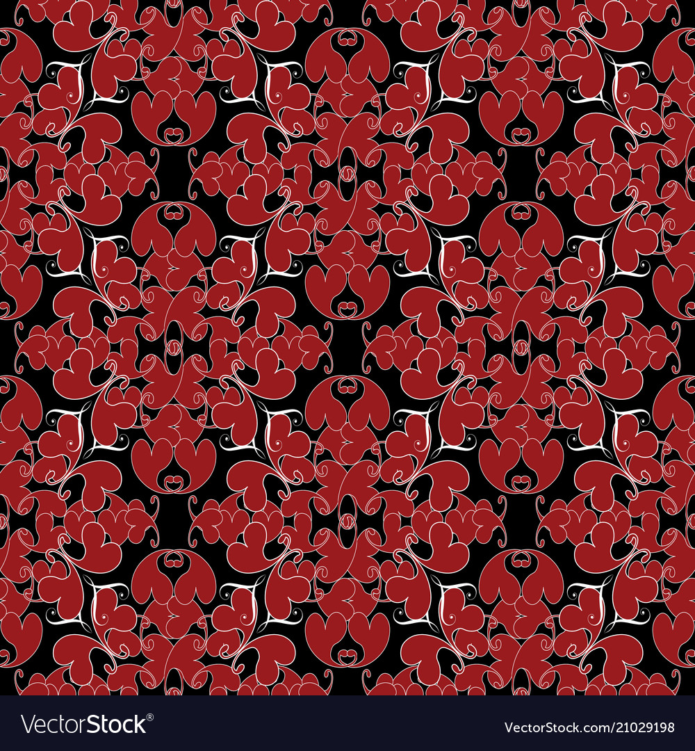 Damask Vintage Love Hearts Seamless Pattern Black