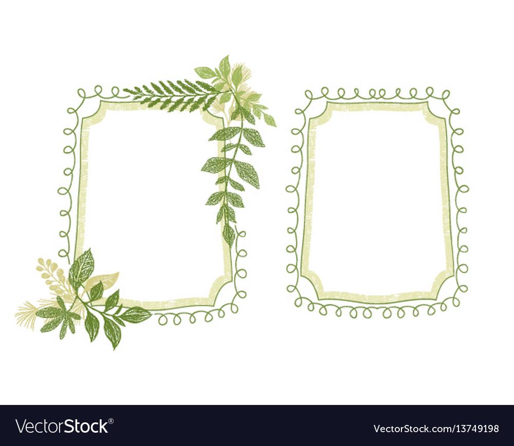 Green floral scrabble leaves frame vector image