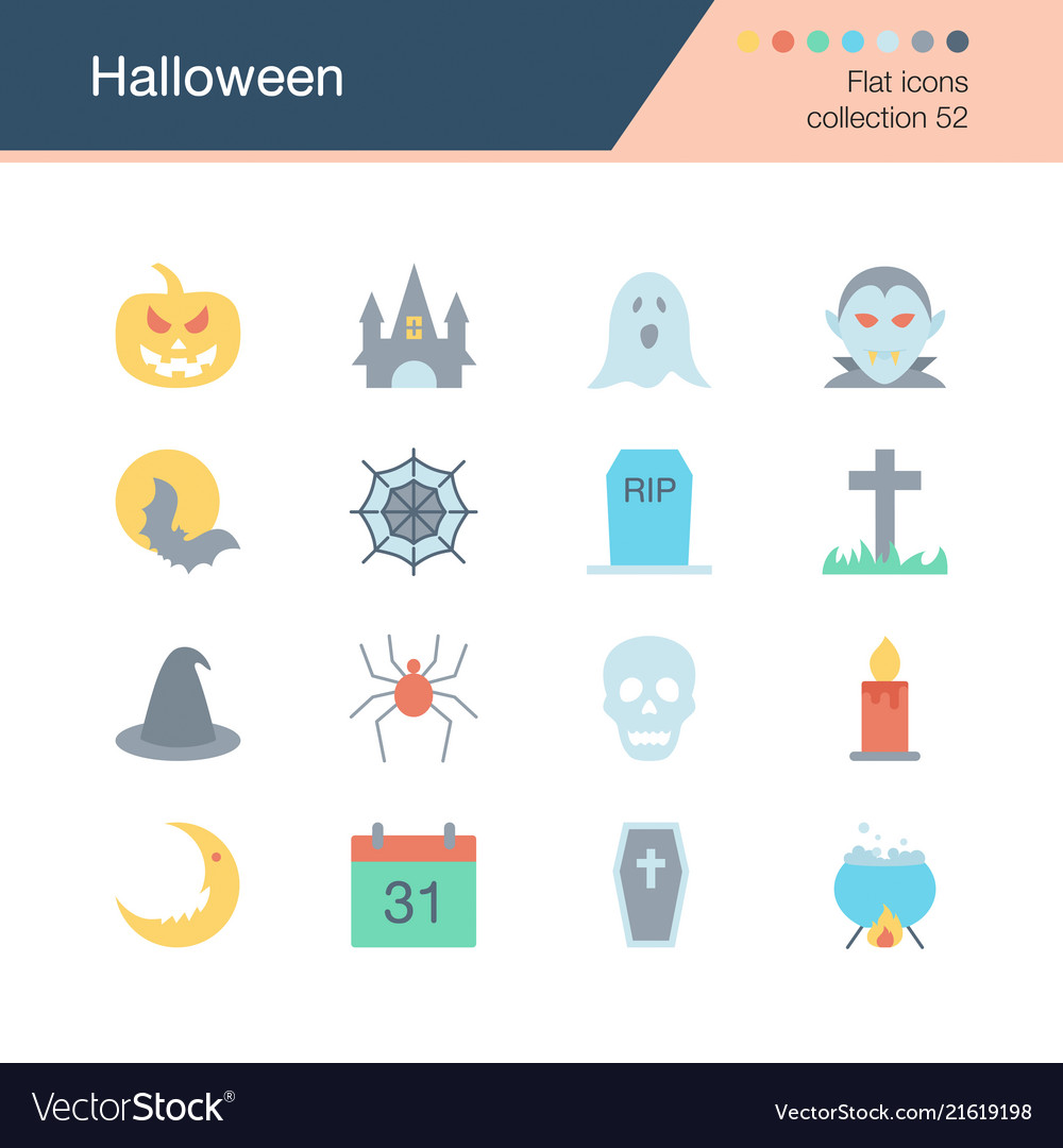 Halloween icons flat design collection 52