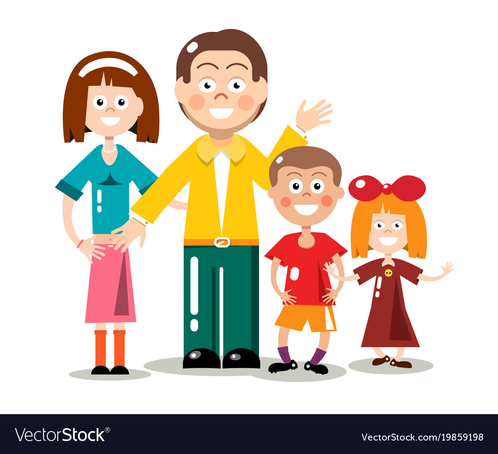 Happy family isolated on white background flat vector image