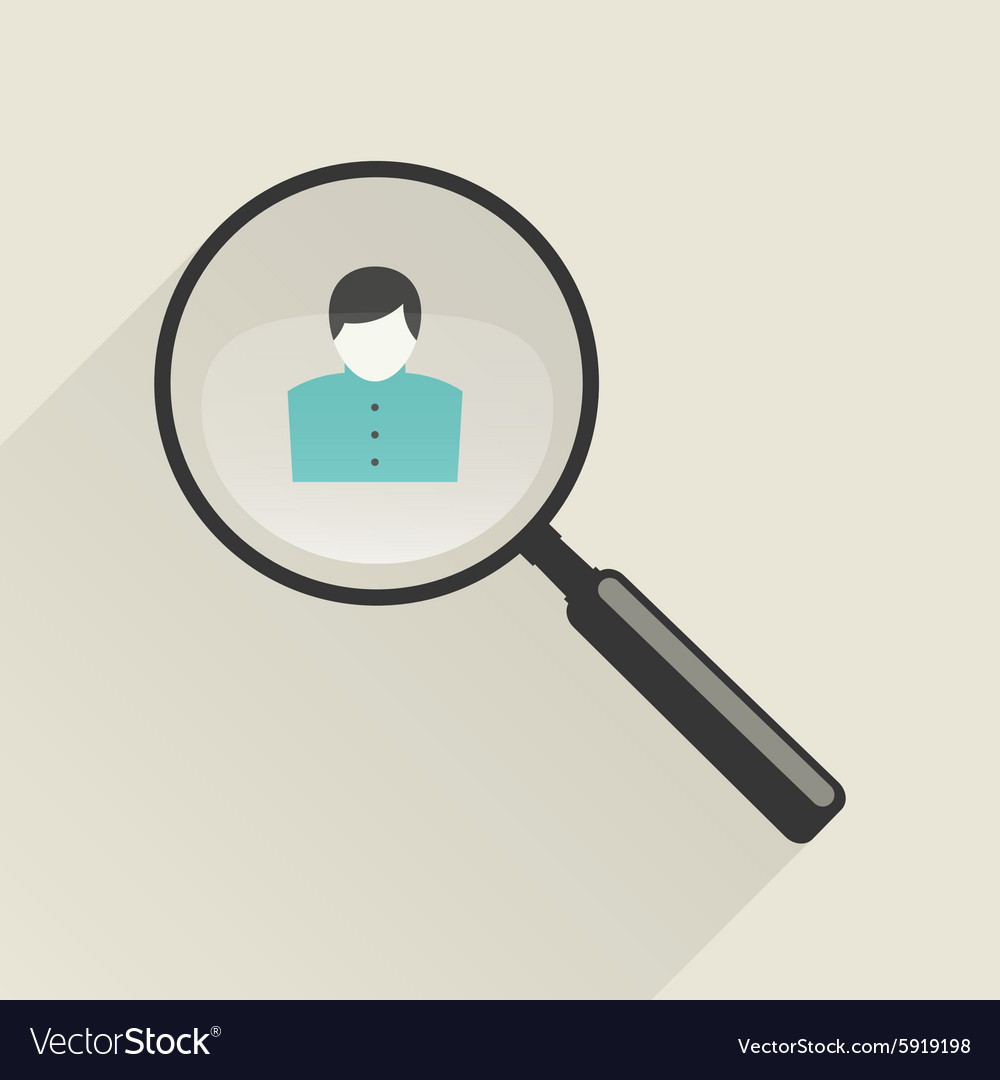 Magnifier icon with man