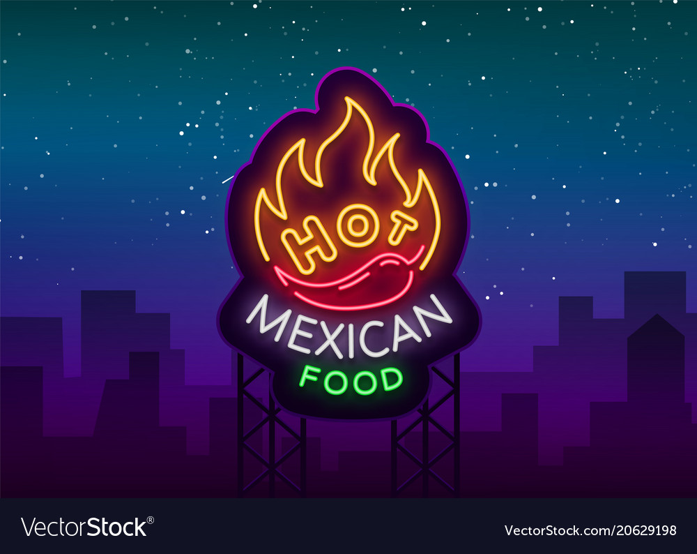 Mexican hot food logo in neon style neon sign