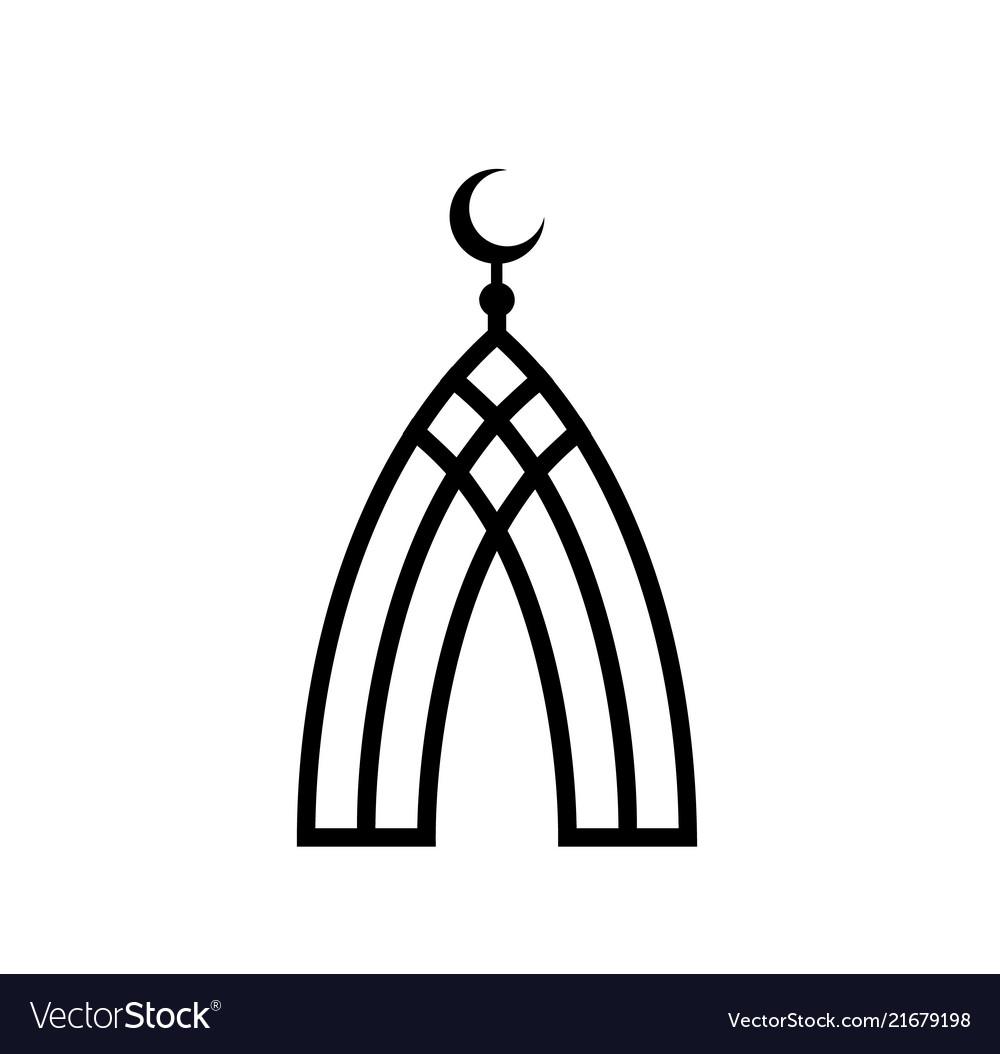 Mosque of black lines islam symbol islamic