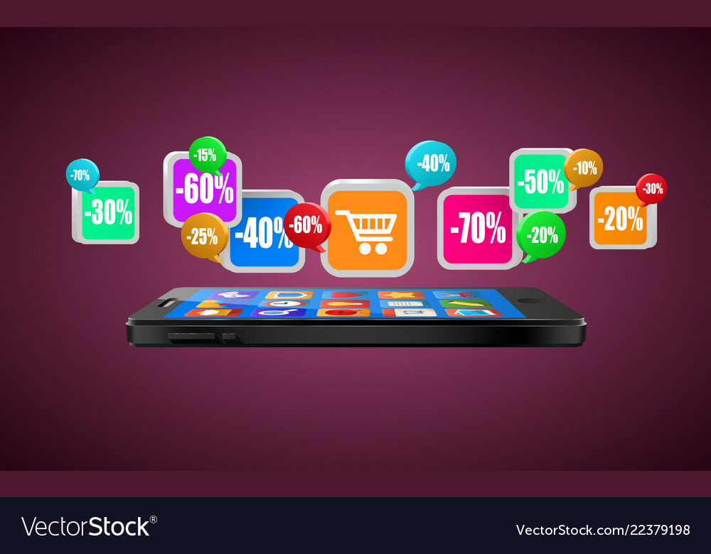 Phone with app icons mobile buying internet
