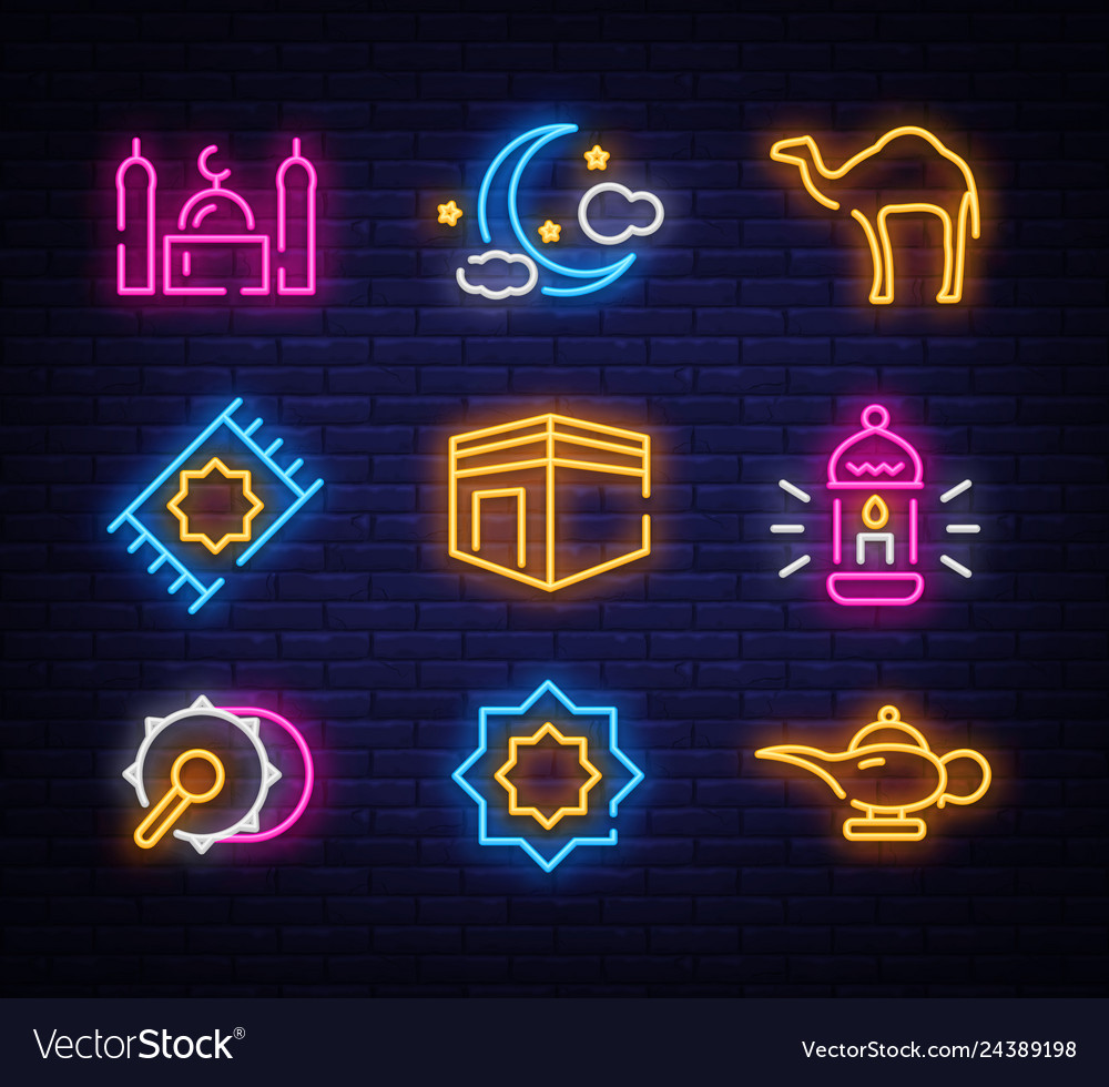 Ramadan kareem icon set neon design template