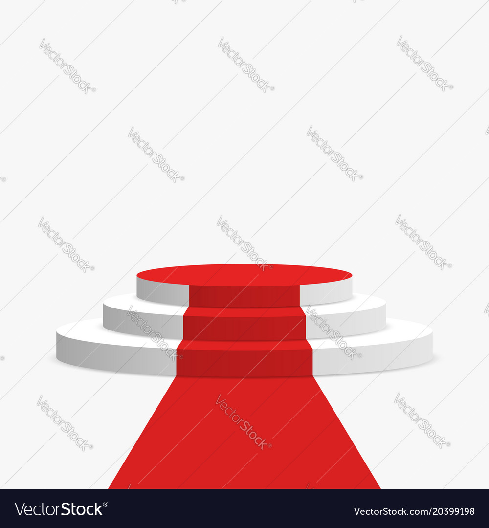 Red carpet and podium white round pedestal with