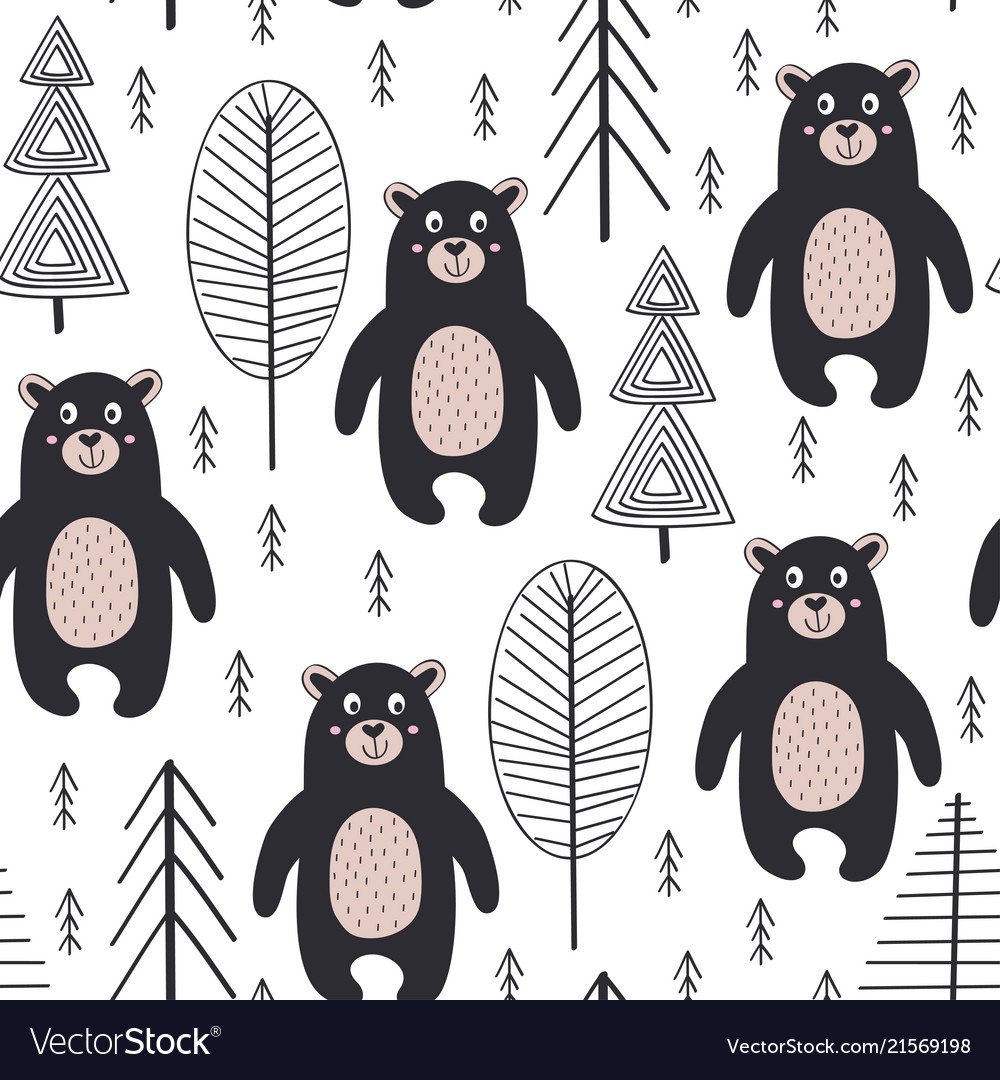 Seamless pattern with bear in forest scandinavian