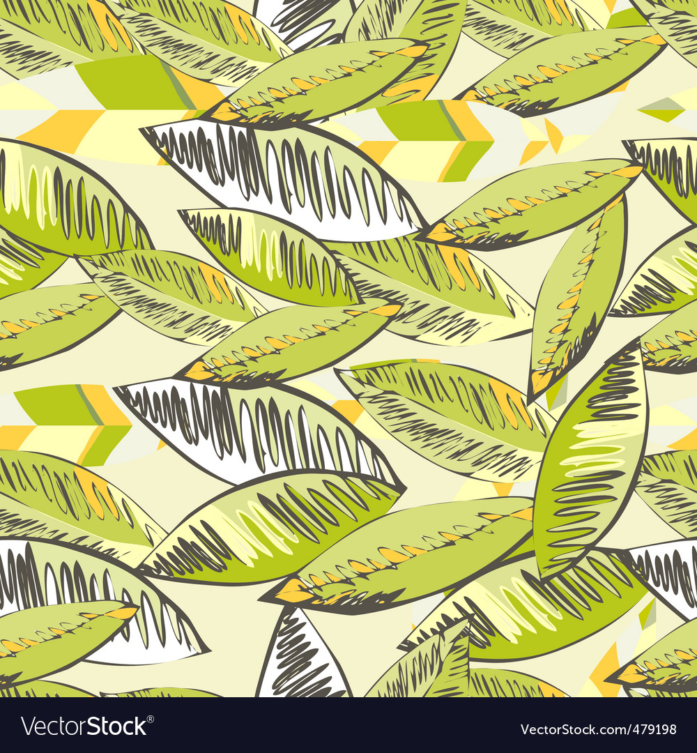 Seamless wallpaper with decorative leaves vector image