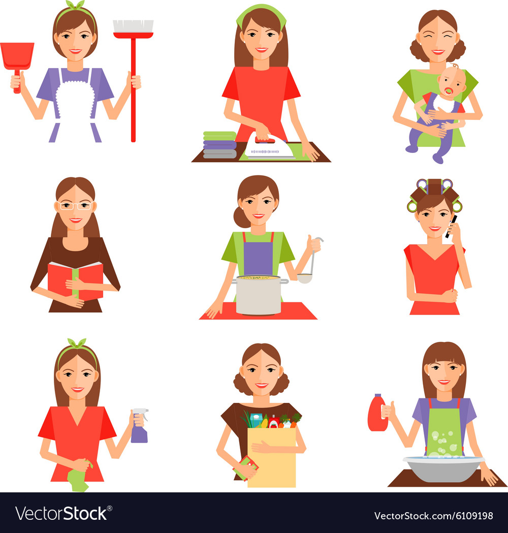 Set Of Housewife Icon In Flat Style Royalty Free Vector