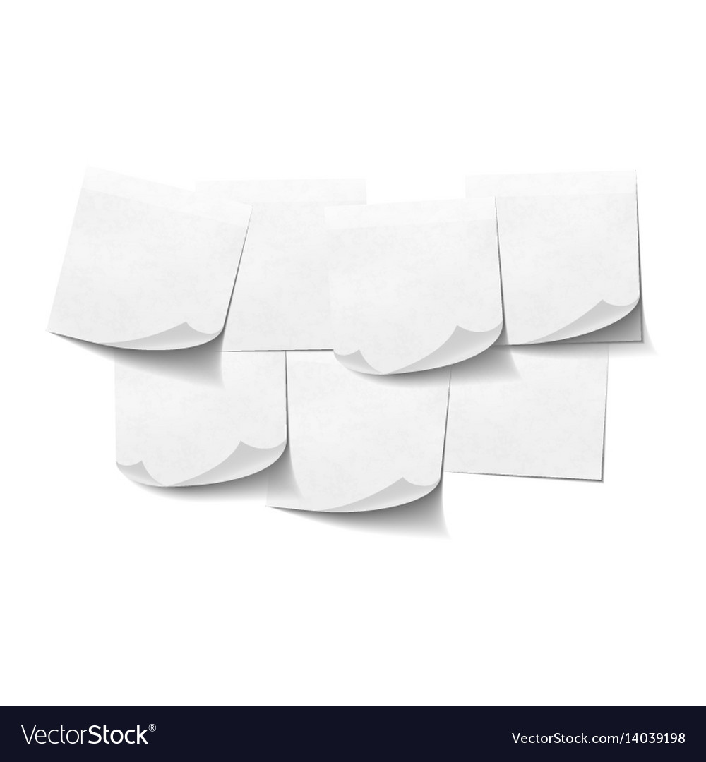Set of white empty sticky notes on white