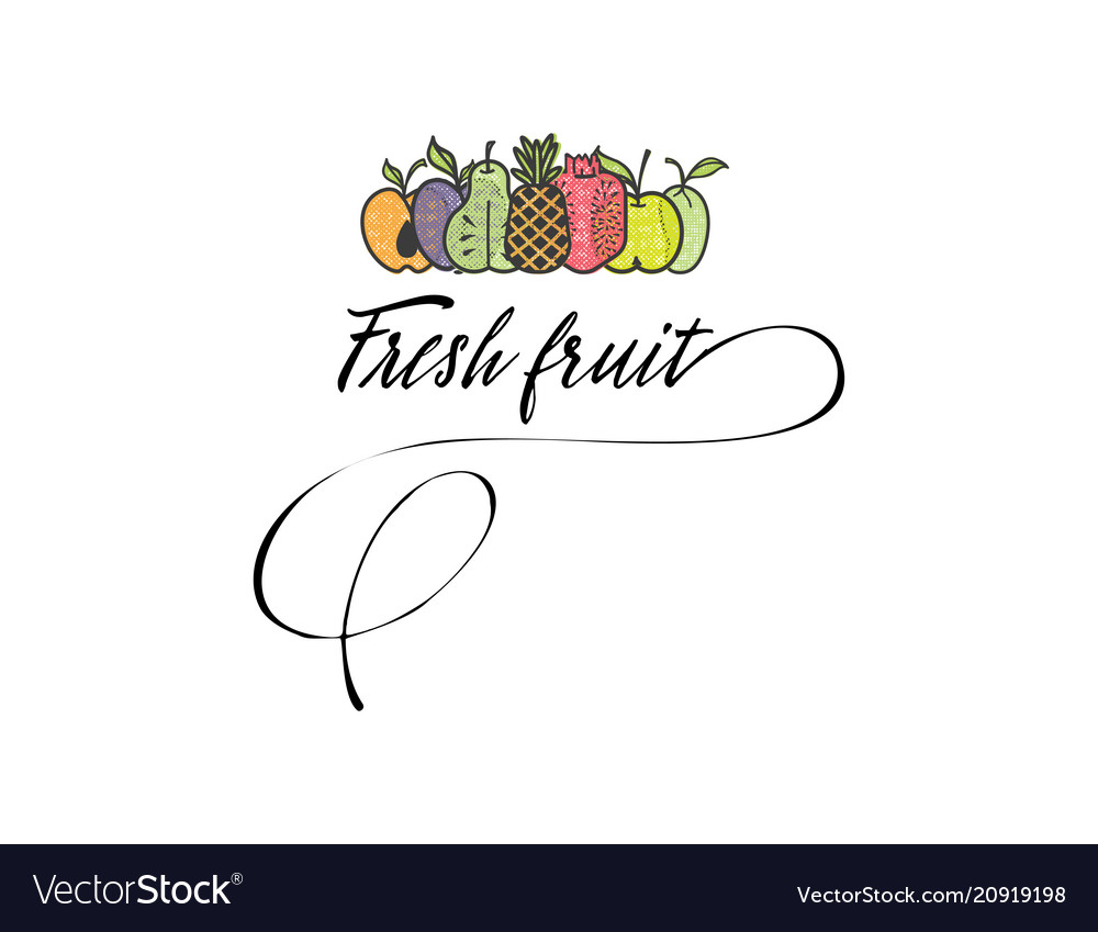 Symbol Fresh Fruits Logo And Organic Food Symbols Vector Image