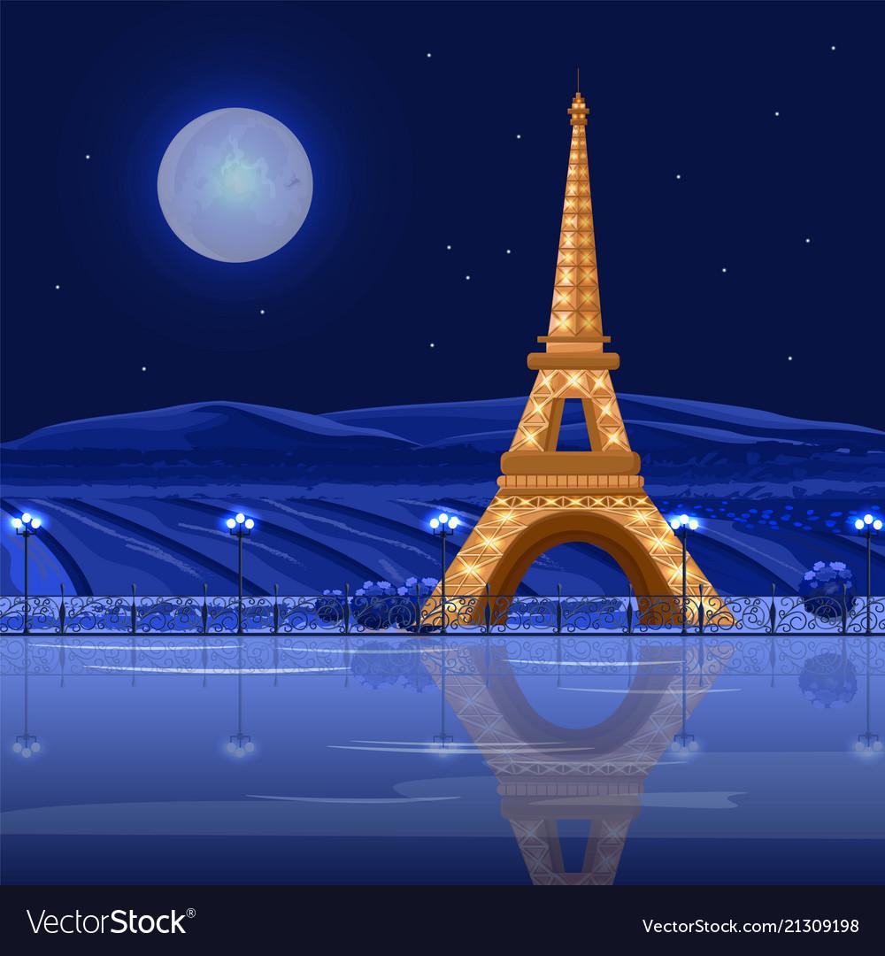 Tour Eiffel Paris At Night Card Beautiful Vector Image