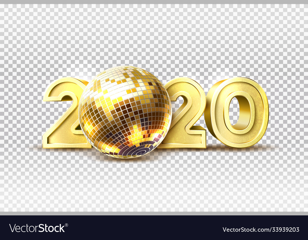 2020 new year party golden disco ball