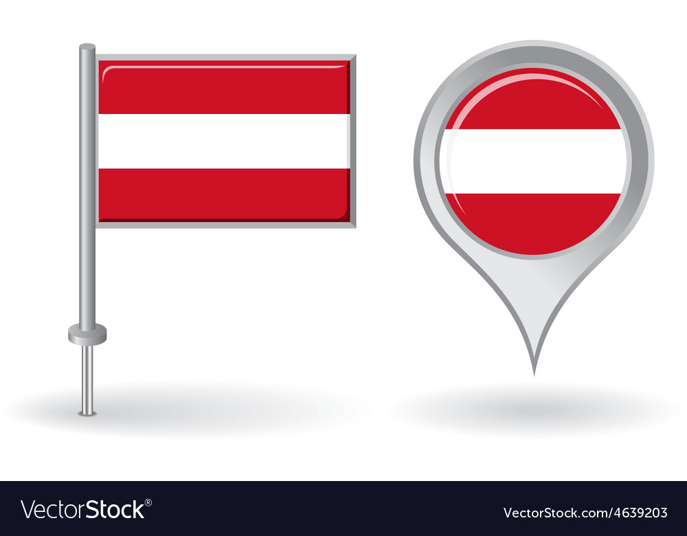 Austrian pin icon and map pointer flag