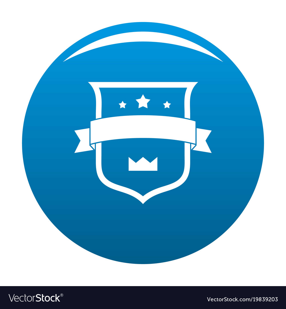 Badge crown icon blue