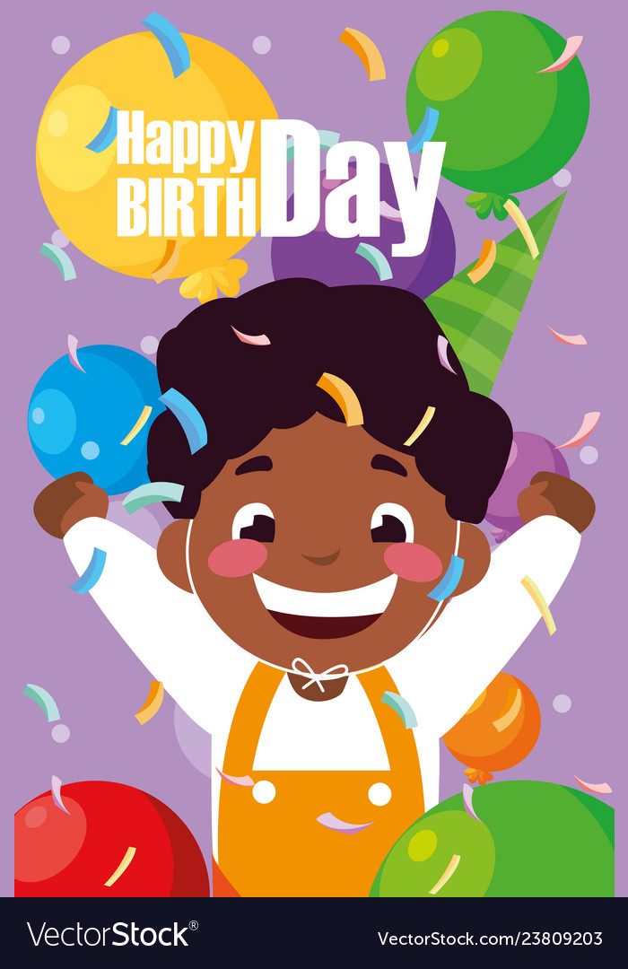 Birthday Card With Little Black Boy Celebrating Vector Image