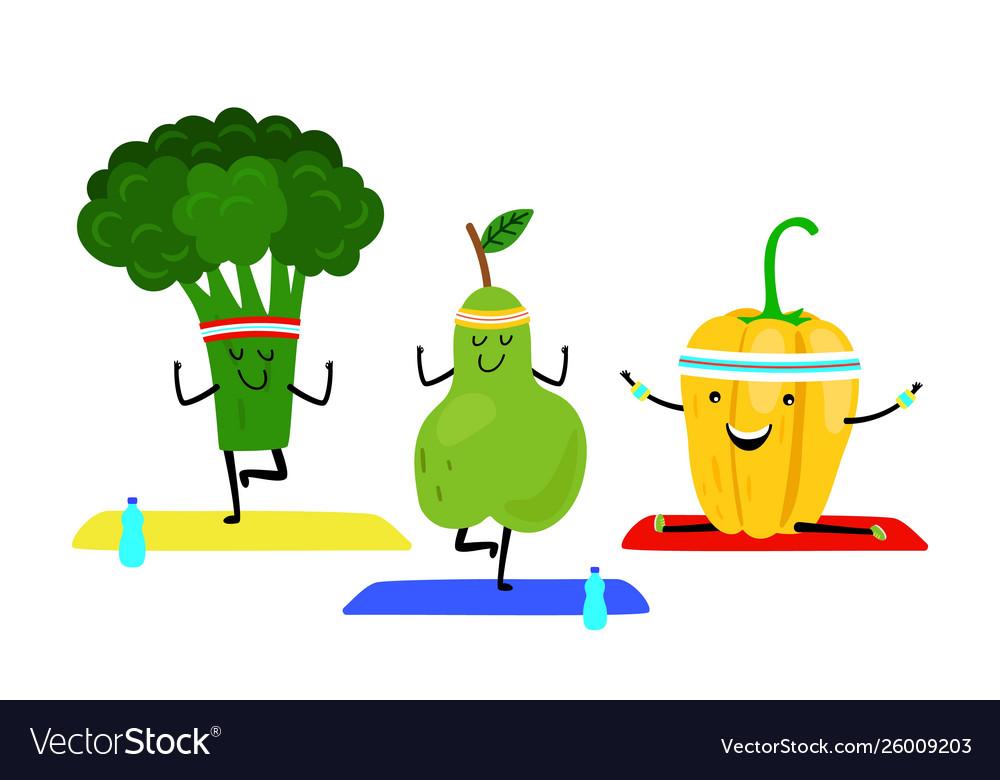 Cartoon fruits do yoga exercise